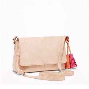 Light Pink Suede Crossbody Bag